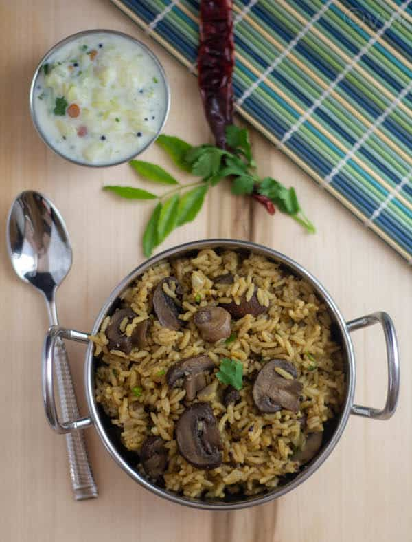 Mushroom Rice served with a tasty side