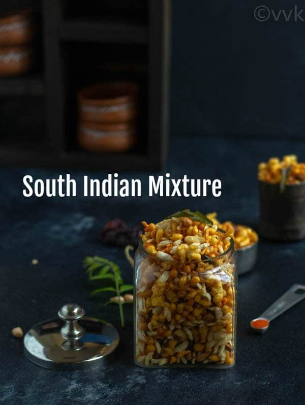 Easy South-Indian Kara Boondi Mixture with text overlay