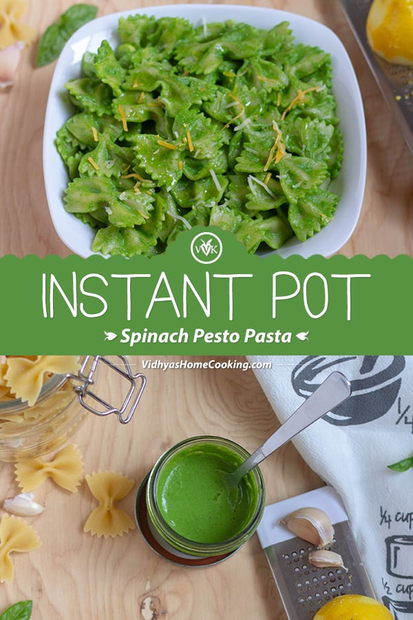 Instant Pot Spinach Pesto Pasta collage with text overlay