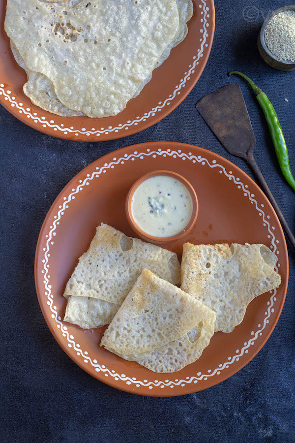 Barnyard Millet Neer Dosa served with sides