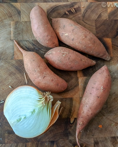 Sweet potatoes and onion