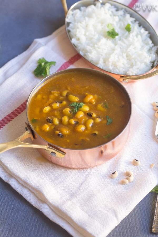Instant Pot Black-Eyed Peas Curry - No Oil Curry Recipe served with rice on the side