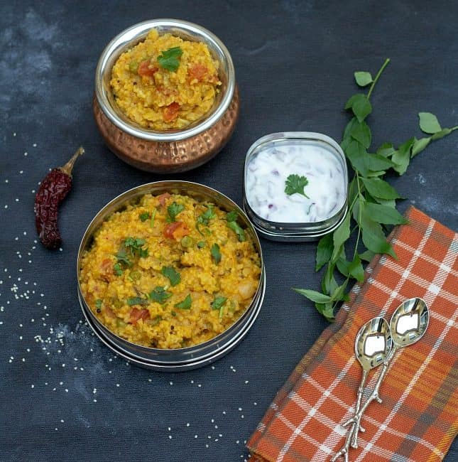 millet kootanchoru in a lunch box and brassware