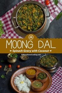 Moong Dal Spinach Gravy with Coconut collage with text overlay