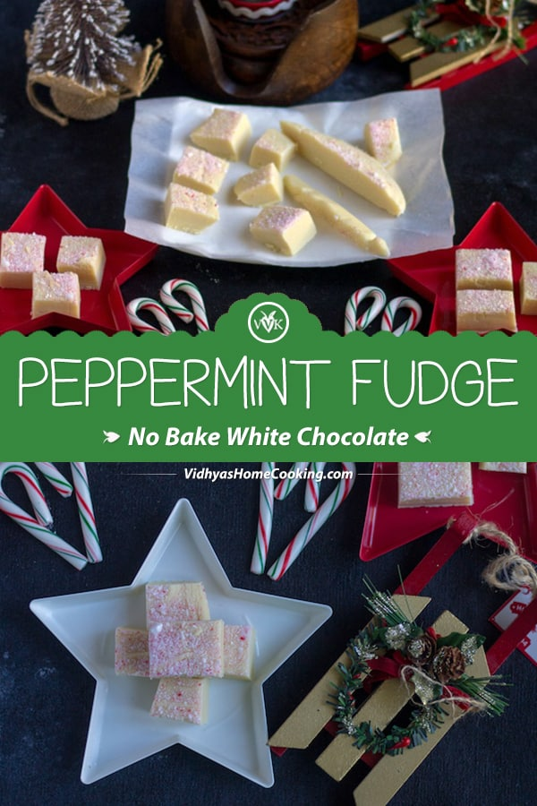 Peppermint Fudge collage with text overlay