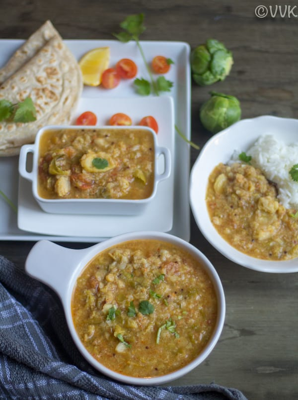 Ready and served Instant Pot Brussels Sprouts Masala Kootu