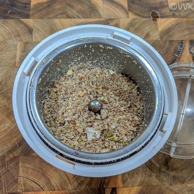 Pulsing and grinding into a coarse powder