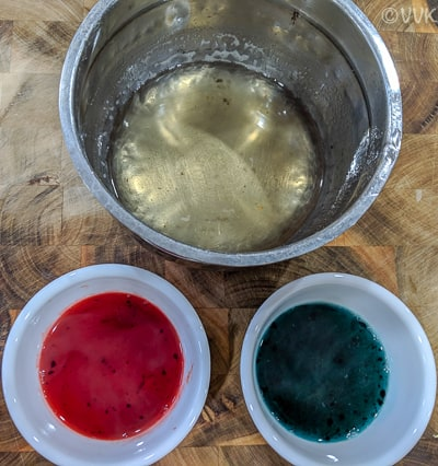 Separating into three equal parts and adding the required food color