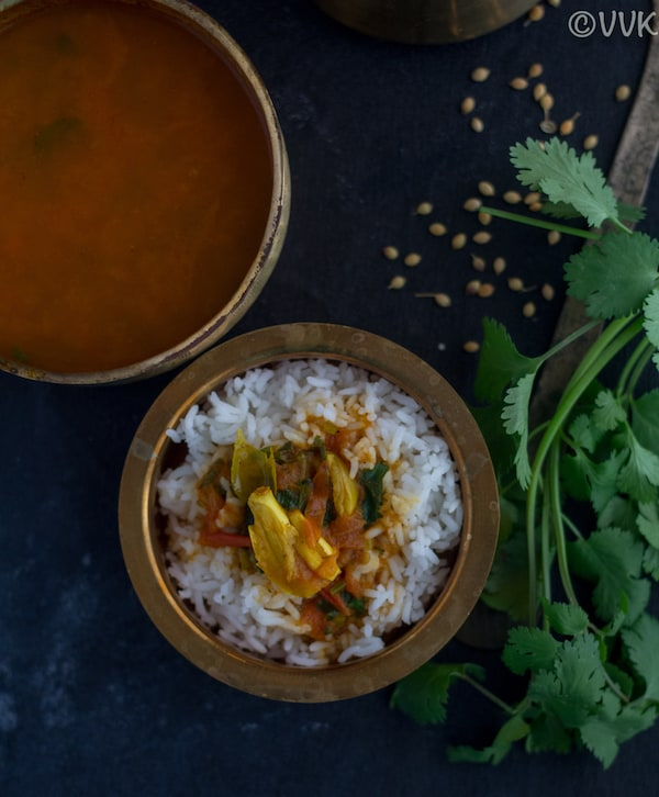 kerala style rasam with rice