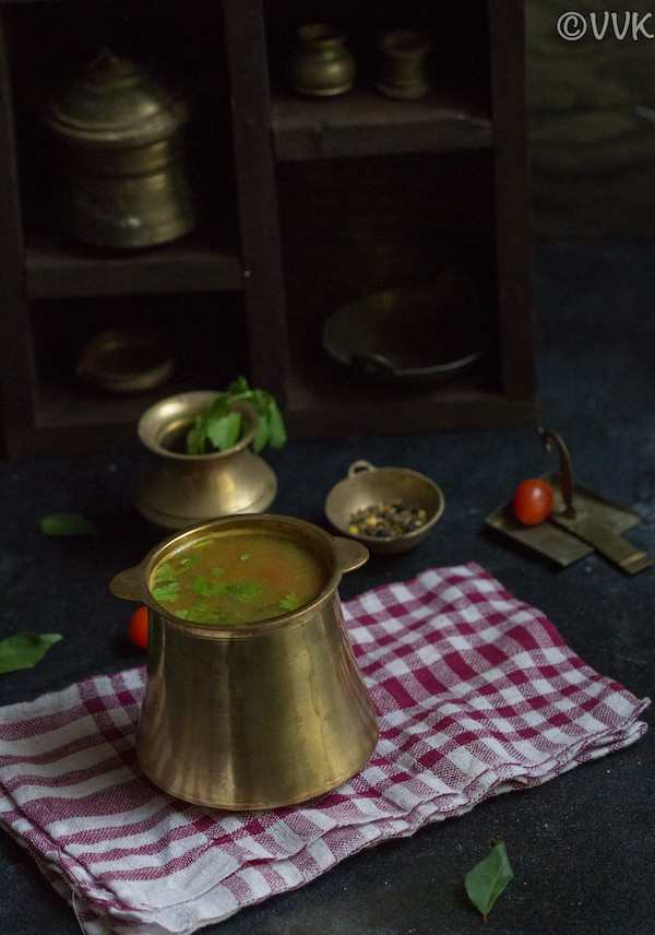 cumin pepper rasam in brassware