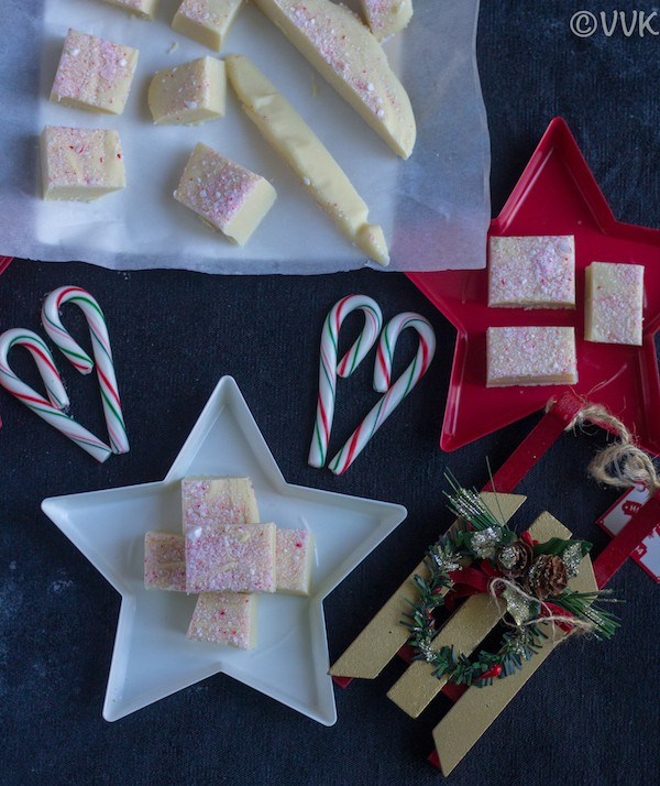 Festive stars full of White Chocolate Peppermint Fudge decorated for Christmas