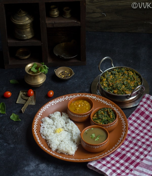 Keerai Kootu - Moong Dal Spinach Gravy - served and ready