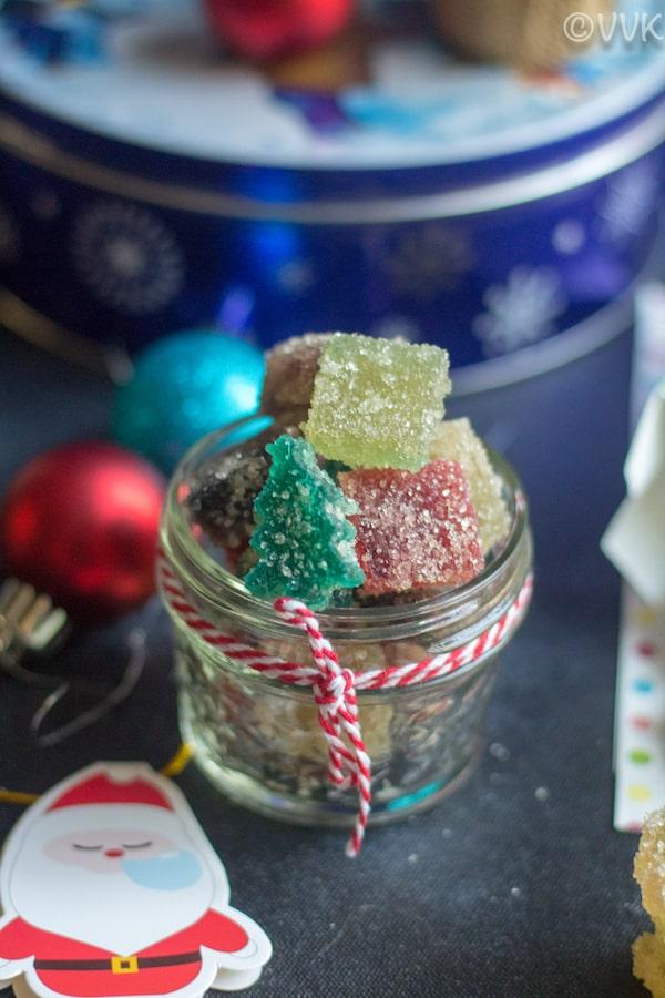 Homemade Gumdrops or Agar-Agar Gumdrops in a small jar