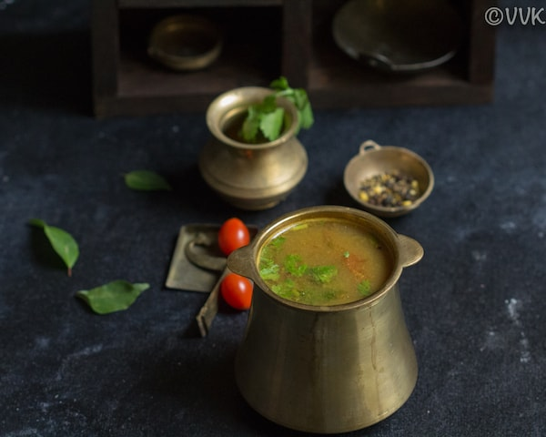 closeup shot of jeera milagu rasam