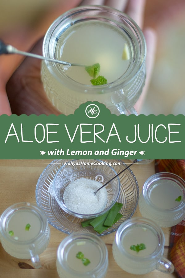Aloe Vera Juice with Lemon and Ginger collage with text overlay
