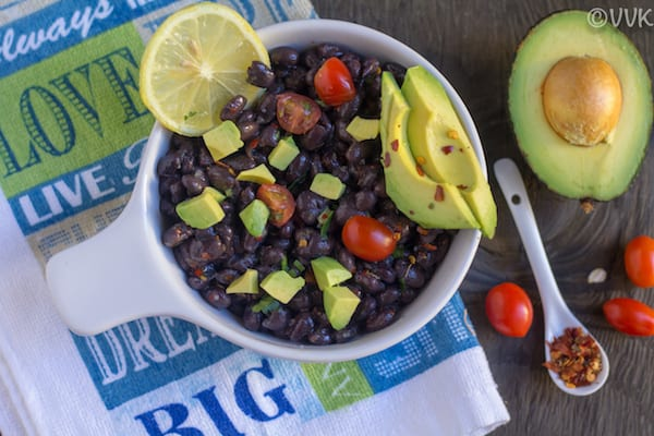 Instant Pot Black Bean Taco Salad with avocado next to it
