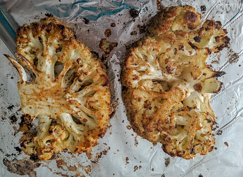 Cauliflower steaks Flipped, Brushed and Baked for the Last Time