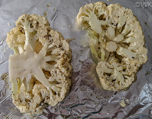 Cauliflower steaks brushed with the olive oil mix