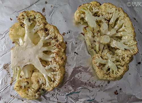 Cauliflower steaks baked and removed from the oven