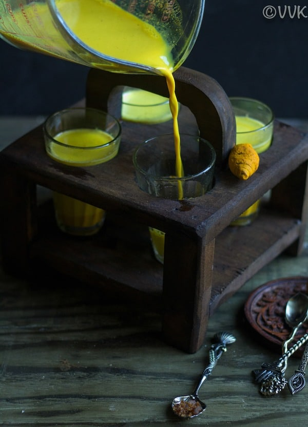Easy Turmeric Milk - Golden Milk - Pouring Milk into the Cups
