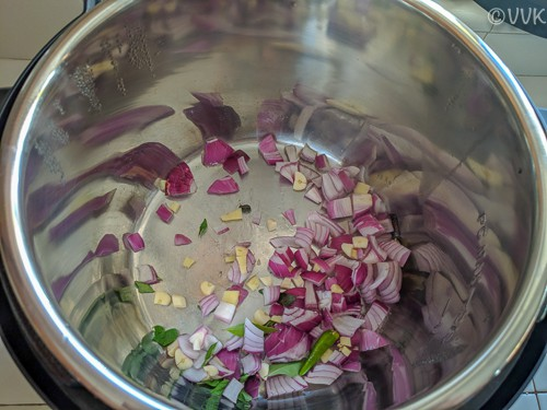 Adding the chopped onion, garlic, ginger, curry leaves, cardamom, cinnamon, and the green chilies