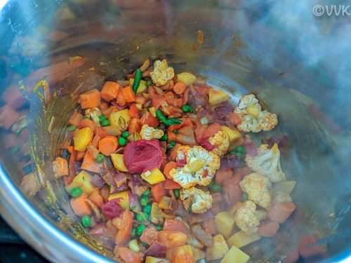 Adding the veggies and cooking
