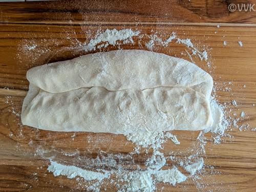 Folding the dough half-way