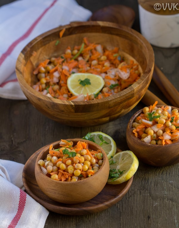 White Peas Carrot Salad Served in wooden bowls