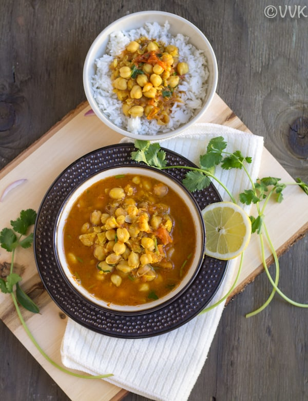 chana masala top angle with rice bowl