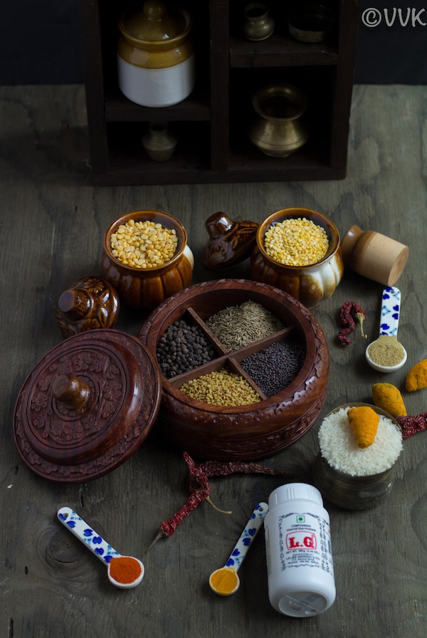 Indian spices with a rack behind