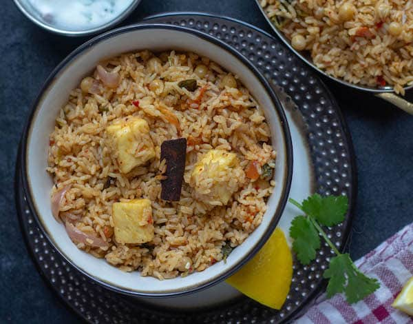 close look of ambur veg biryani with paneer