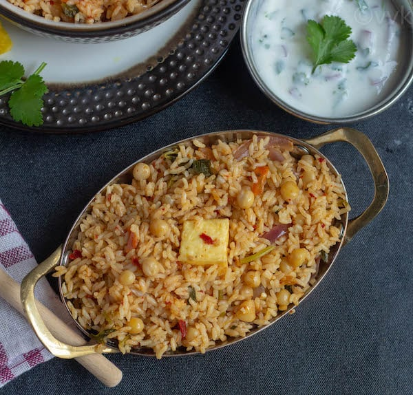ambur veg biryani with raita on the side