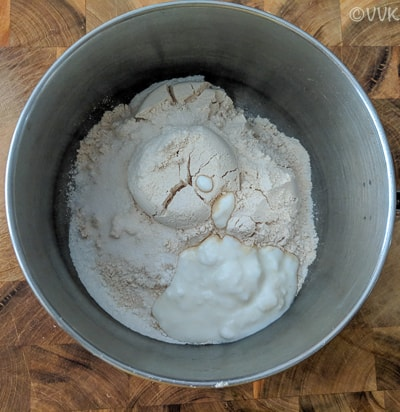 bowl with wheat, rice flour and yogurt