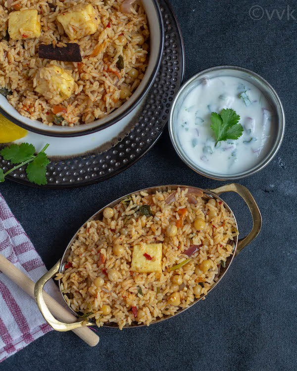 Top angle of ambur vegetarian biryani with paneer and white peas