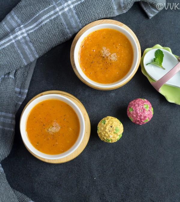 top angle instant pot tomato soup