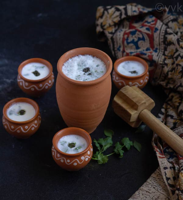 butter milk in clay tumbler and kulhad cups