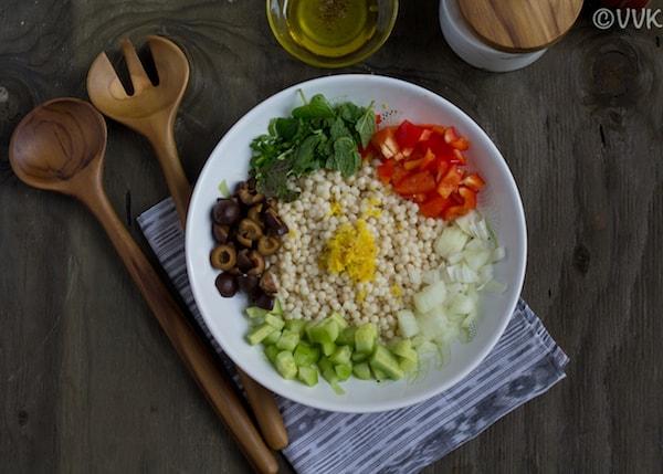 couscous salad before assembling