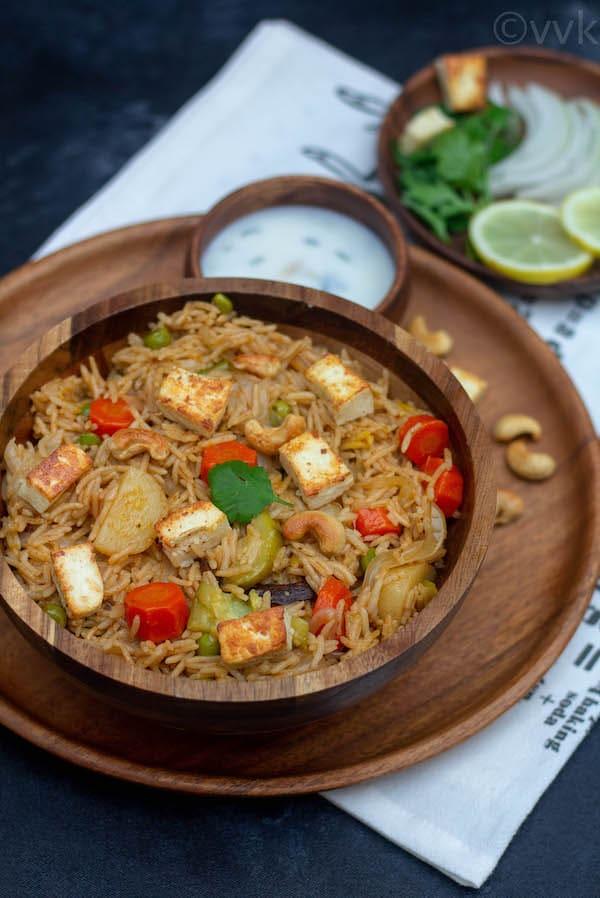 close look of awadhi veg biryani in a bowl