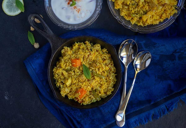 rawther veg biryani in cast iron pan
