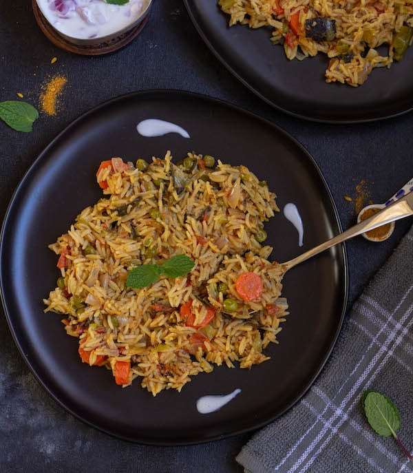 top angle look of delhi veg biryani