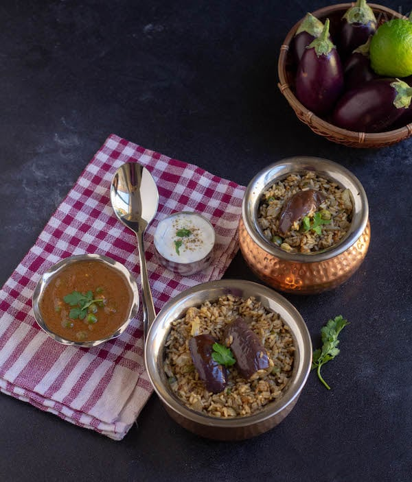 brinjal biryani in two handis