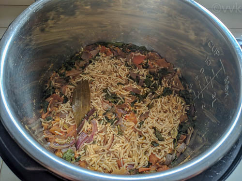 instant pot methi pulav after cooking