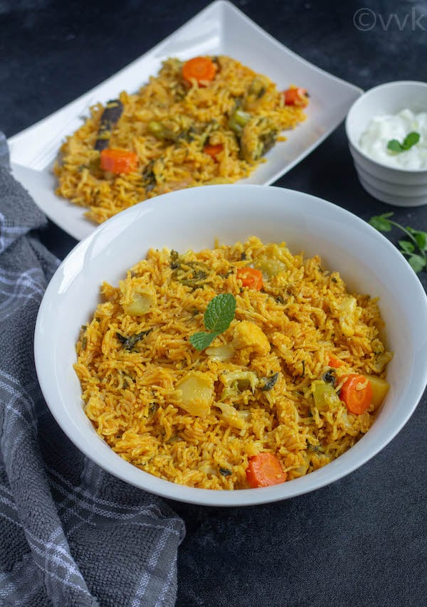 Hyderabadi Veg Biryani Recipe in a bowl
