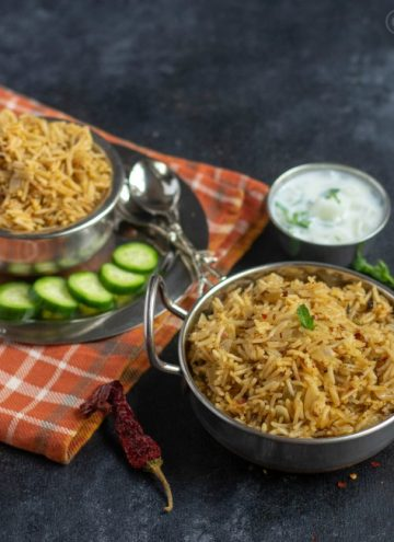 gongura pickle pulav in a handi