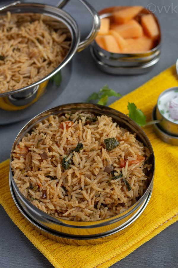 close up look of methi pulav