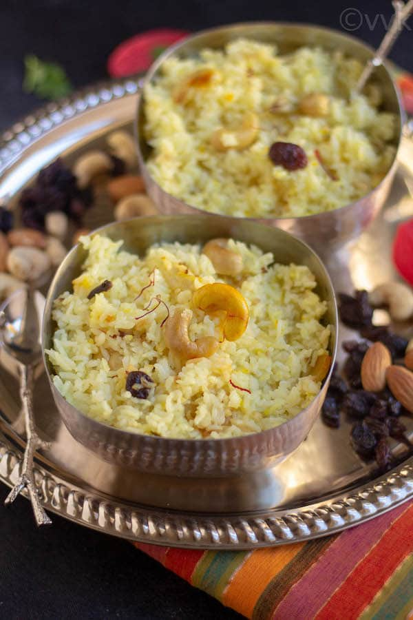 close look of bengali sweet pulao