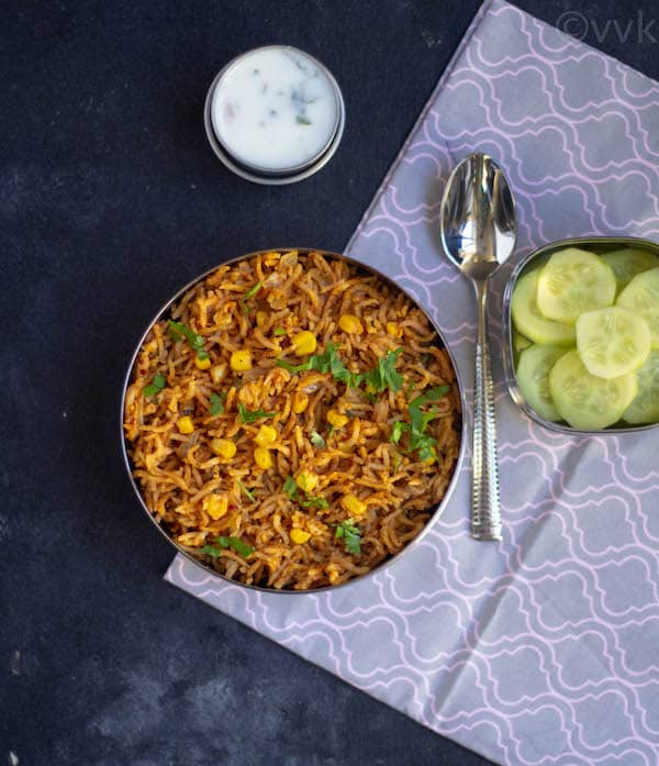 xacuti masala pulav in lunch box