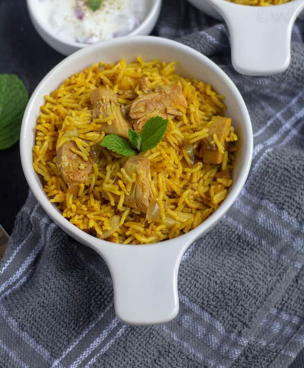 close up look of tender jackfruit biryani