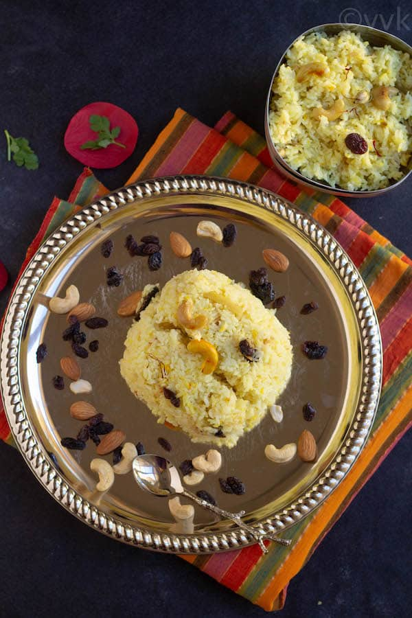 mishti pulao top angle on a plate