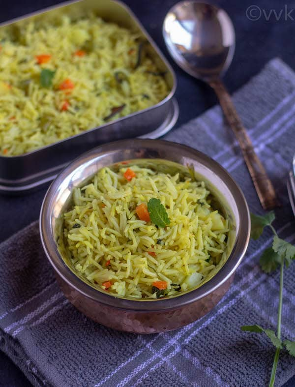 no onion no garlic pulav close look